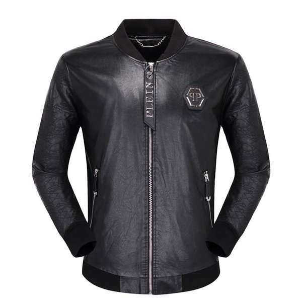 best selling New Casual Winter Men Leather Jacket Fashion Hip Hop #1066 Men's PU Long Sleeve Skulls Leather Solid Motorcycle Male Jackets Coat
