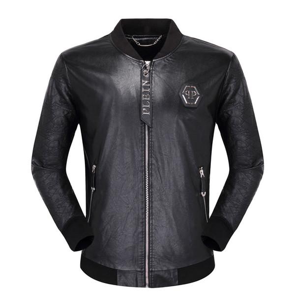 Neue Casual Winter Männer Lederjacke Mode Hip Hop # 1066 männer PU Langarm Schädel Leder Solide Motorrad Männlichen Jacken Mantel