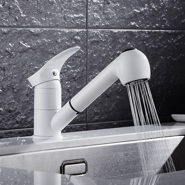 2019 Kitchen Faucets 360 Degree Swivel Pull Out Kitchen Sink Faucet Water  Saving Polished W\\White Basin Crane Mixer Brass Sink Tap From  Liuyanggarden, ...