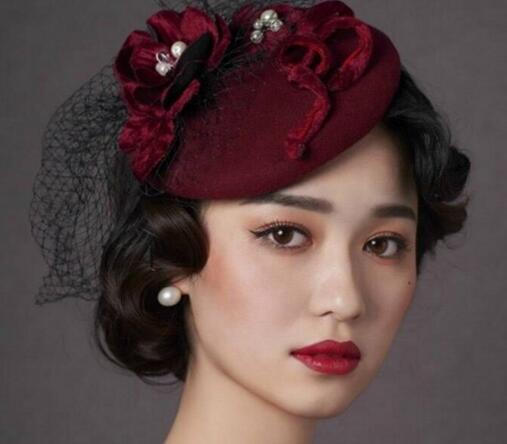 Vintage New Style Burgundy Wedding Bridal Hats Fascinators Hot Sale Church Headpiece Hair Accessories 2018 with Handmade Flowers and Pearls