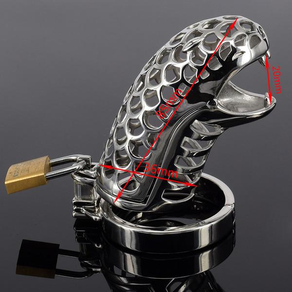 Новый мужской целомудрие устройство конструкции новый стальной пояс целомудрия для мужчин новые устройства целомудрия змея дизайн петух клетка со съемным кольцом шипа