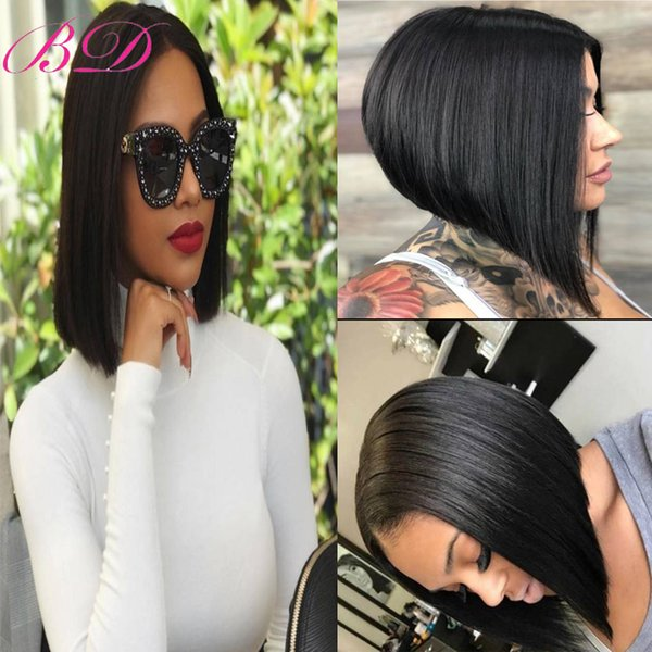 BD Bob Lace Front Human Hair Wig Peluca Virgin Virgin Lace Lace Wig Color natural recto Peluca