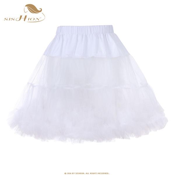 SISHION Sexy Retro Vintage Tutu Skirt Blue White Black Red Ball Gown Women Ladies Tulle Skirts Organza Mini Skirt Petticoat 656