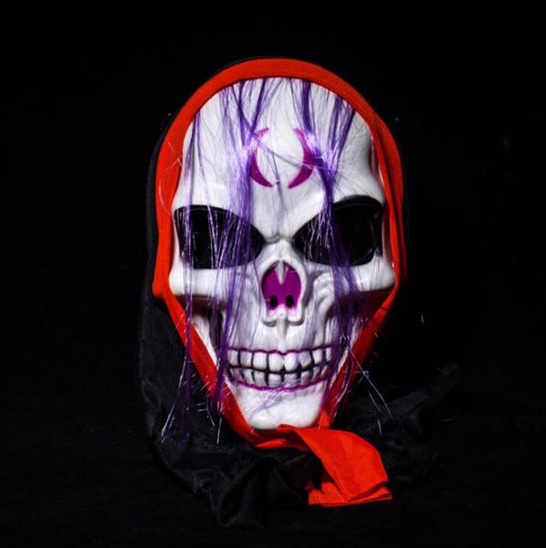 Full Face PVC Skull Evil Masks for Halloween Party April Fools' Day Joke Funny Masks Men Movie Screaming Purple Hair Masks