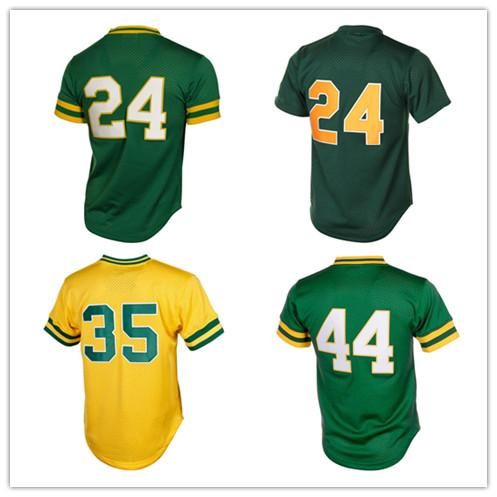 best selling Mens Retro Rickey Henderson Jersey Reggie Jackson Jerseys 100% Stitched Mesh Baseball Jerseys