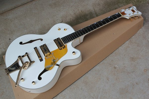 Fingerboard de ébano O FALCÃO BRANCO 6120 Semi Oco Corpo Jazz Tuners Coreano Guitarra Elétrica WithTremolo