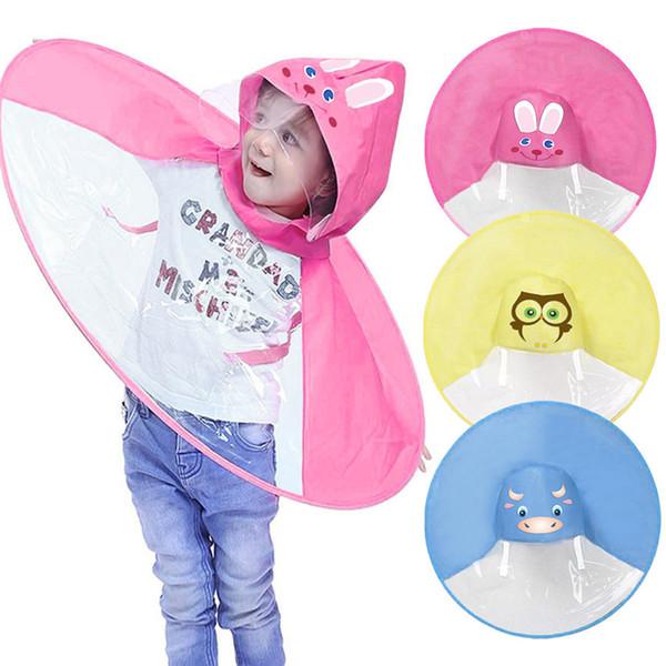top popular Foldable Cute Animal Rain Coat UFO Children Umbrella Hat Magical Hands Raincoat M S Dropshipping July#5 2019