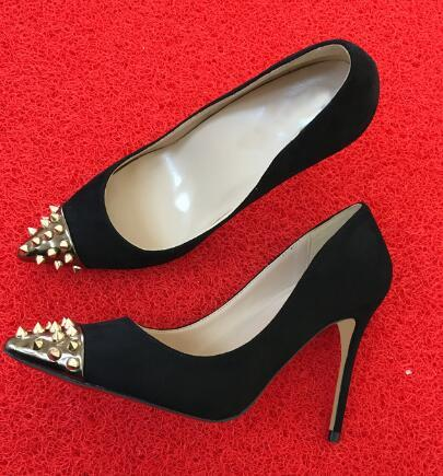 2018 Suede Leather Stiletto Women Pumps Shoes Rivets Studs Lady Thin High Heels Wedding So kate Party Dress Shoes Zapatos Mujer