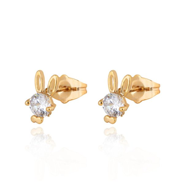 Kids Jewelry 18K Gold Plated Green/Red/White Zircon CZ Cute Rabbit Stud Earrings Brincos Pendientes for Children Girls