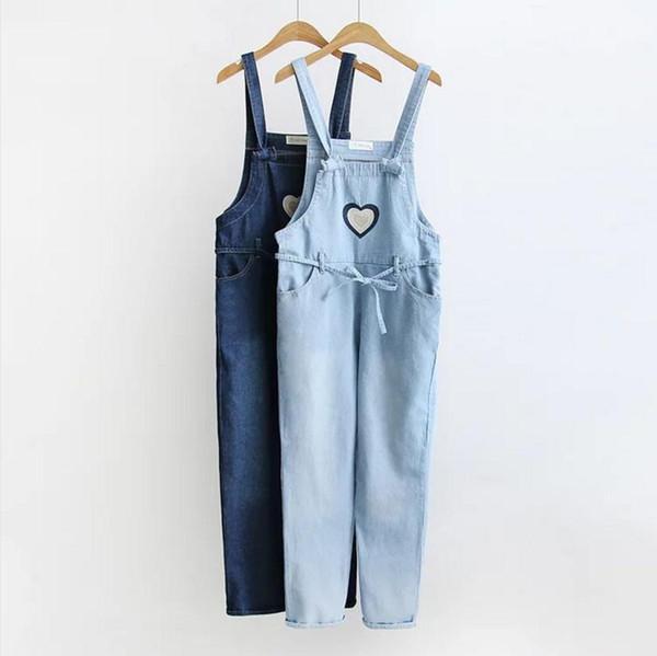 Primavera in cotone lavato salopette femminile a vita alta era sottile aggraffatura Red heart embroidery Tuta per jeans alla caviglia L119