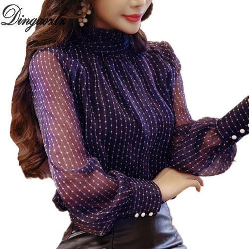 Dingaozlz Elegant long sleeve bodysuit Korean fashion clothing Printed Women Blouse Tops Casual Chiffon shirt