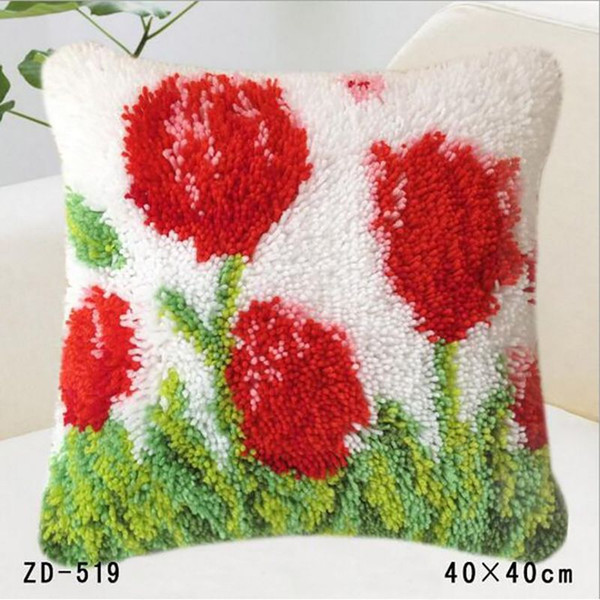 Happy New Year Gift Christmas Red Flowers Pillow Cases Bright Cushion Covers Acrylic Fibers Carpet Yarn Printed Pillowcase Seat Covers 40X40