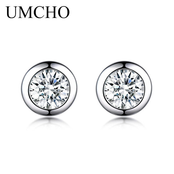 UMCHO Solid 925 Sterling Silver Stud Earrings For Women Zircon Cute Korean Earrings Girl Christmas Party Christmas Jewelry 2019