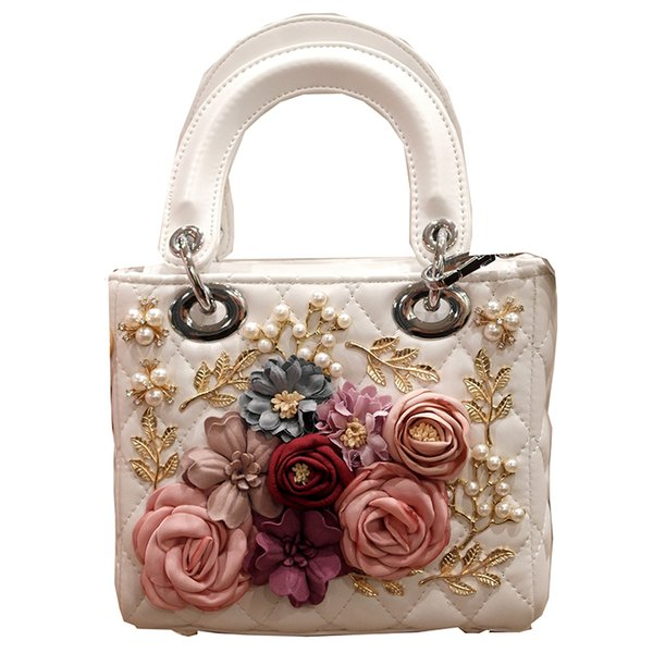Luxury Handmade Flower Handbag Women Embroidery Beaded Evening Party Hand Bags White PU Leather Tote Bags Wedding Bridal Bag