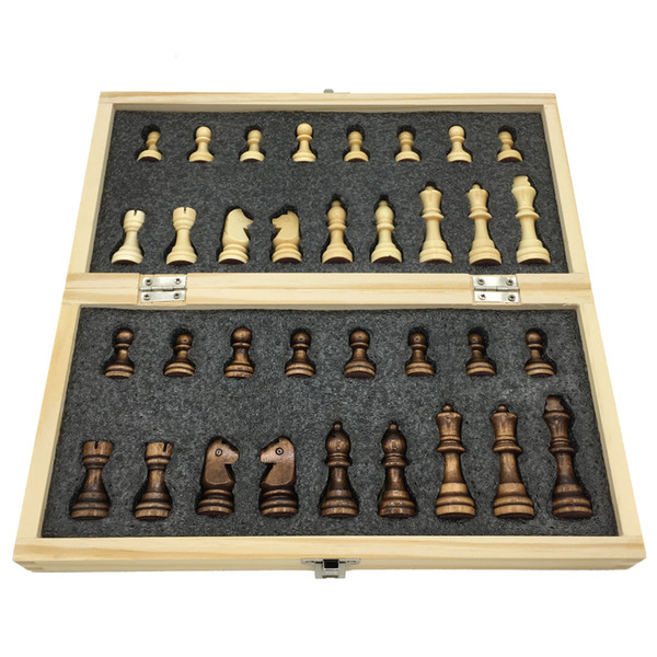 top popular Wooden Chess Set Folding Chessboard With Magnetic Chess Board Size 29 cm x 29 cm Children Gift Tournament Game 2021