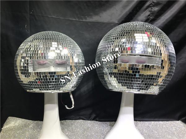 DC87 costumi da ballo sala da ballo specchio uomini donne cantante spettacolo teatrale indossa dj vestire palla di vetro led casco passerella modelli di prestazioni discoteca indossa