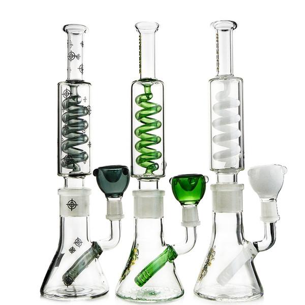 11 pulgadas de cristal del cubilete Bong Bong Construir Un Tubos con condensador de bobina Freezalbe Big Water difuso Downstem Perc aceite Dab equipos con cuenco