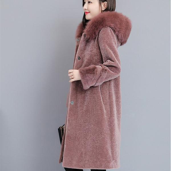 2018 Autumn Winter New Women Thick Woolen Coat Vintage Sheep Shearing Large Size New Coats Fox Fur Long Outerwear