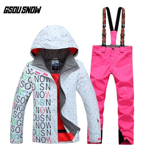 GSOU SNOW Women's Double Single Board Ski Suit Outdoor Thick Warm Sport Breathable Waterproof Ski Jacket Pants Size XS-L