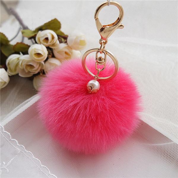 8 cm moelleux porte-clés fourrure pom pom chaîne porte-clés faux lapin cheveux bibelot pour sac voiture boule de fourrure porte-clés or chaveiro llaveros