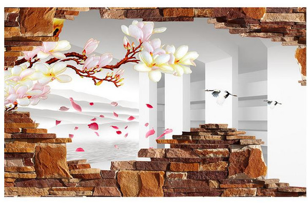Personnalisé 3d Photo Papier Papier D'origine 3D Magnolia Pétale Cassé Mur Contexte Art Mural pour Salon Grande Peinture Décor À La Maison
