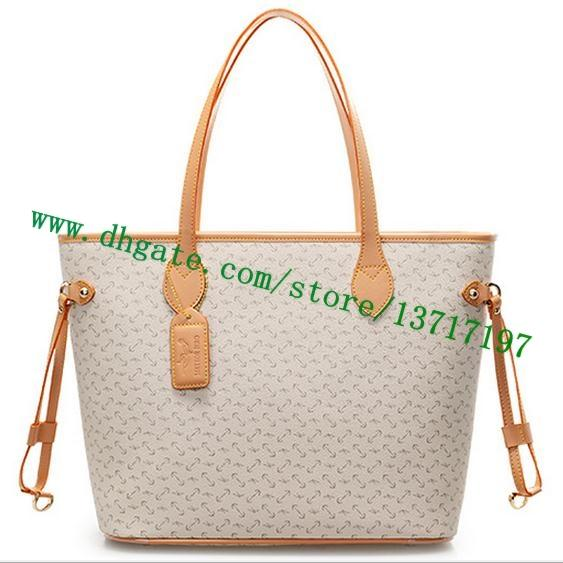 Top grade White Plaid Canvas Coated Real Leather Lady Tote Bag NEVVERFULL GM N41360 Women Handbag Cosmetic Bag