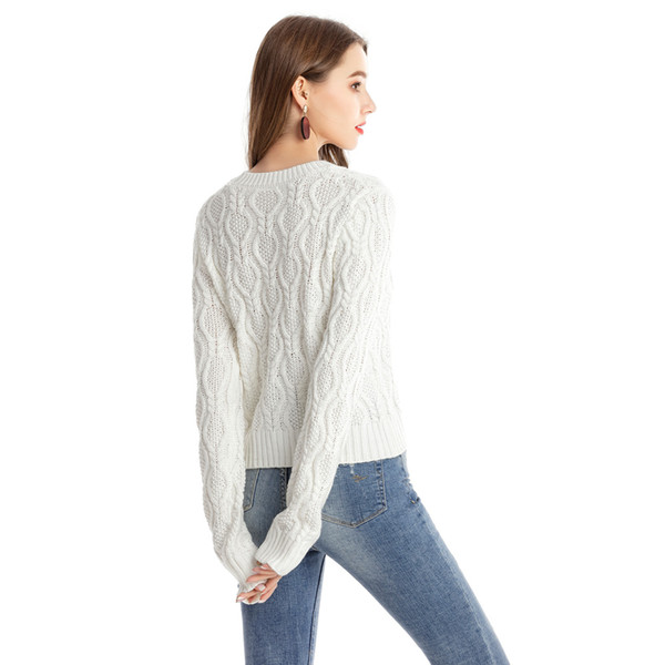 Wipalo Autumn Long Sleeve O-Neck Sweater Women Pullover Knitted Casual Sweater Women Jumper Stereoscopic Pattern Design Coat
