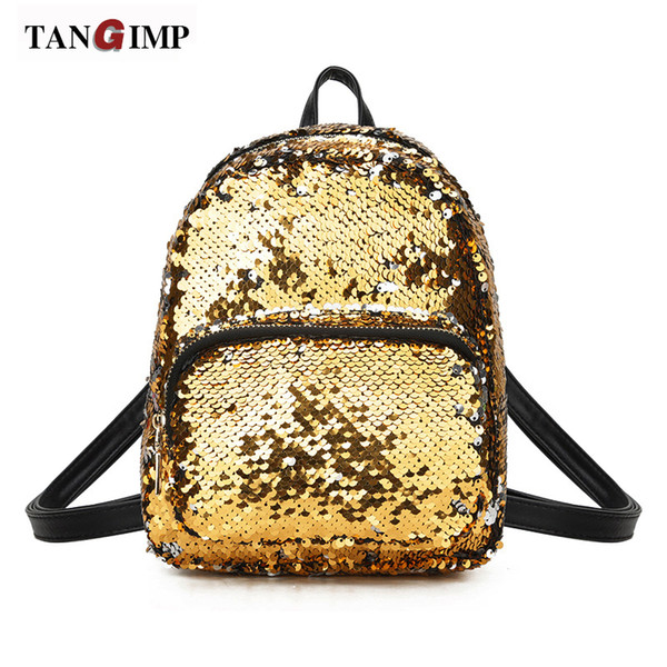 TANGIMP Sparkly Sequined Leather Backpack For Girls Fashion Small Backpack Shoulder Bag Female Mini Travel Bag Backpack