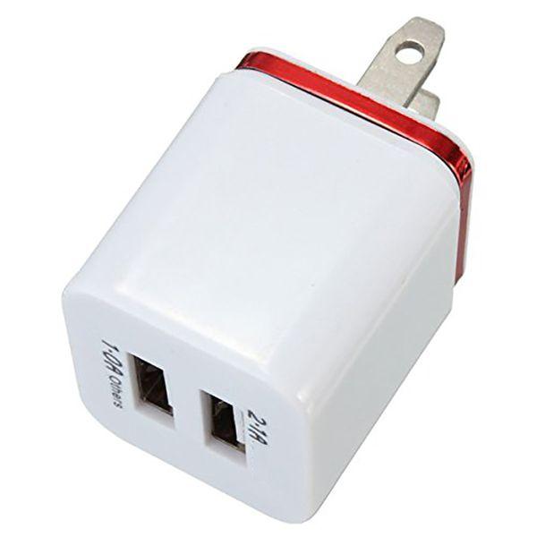 Supervalve Top Qualité 5V 2.1 + 1A Double USB Voyage CA US Chargeur Plug Plug Double Chargeur Pour Samsung Galaxy HTC Smart Phone Adapter