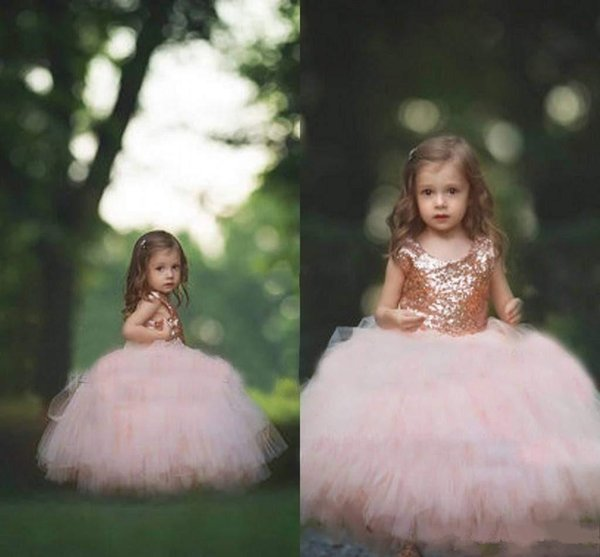 Rose Gold Sequin Flower Girls Dresses 2018 New Puffy Ball Gown Floor Length First Communion Dresses Girls Pageant Gown Custom Made Cheap