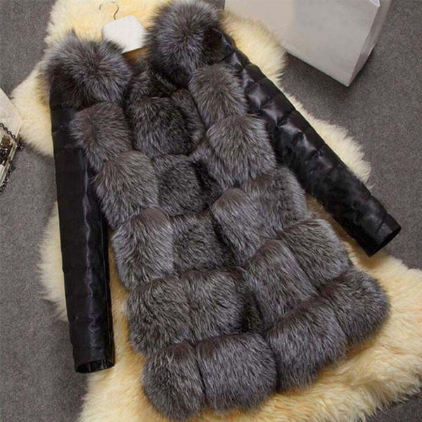 Leather Jacket Woman Elegant Fashion O-Neck Thick Warm Winter Outerwear Plus Size 3XL Gray Leather Faux Fur Coat Parka 6Q2401