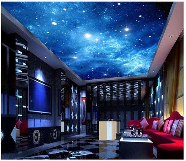 Acheter Personnalisé 3d Papier Peint Pour Murs 3d Plafond Papier Peint Peintures Murales Atmospheric Dream Star Voie Lactée Nébuleuse Plafond Murale