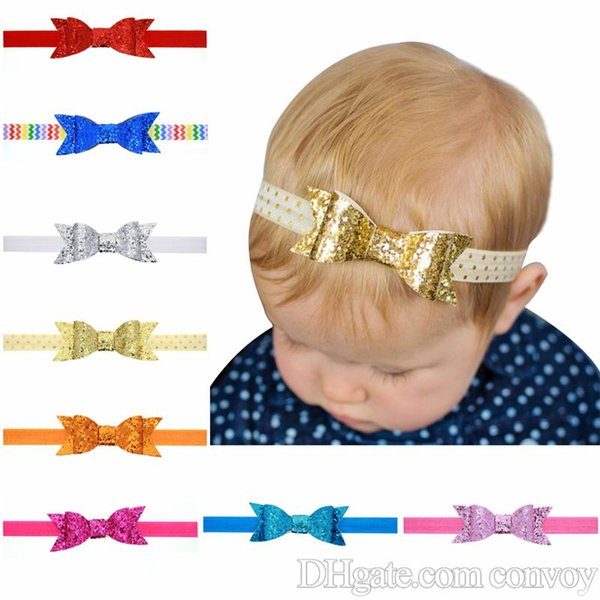 Fashion New Baby Headbands Sparkle Bows Girls Glitter Bowknot Headdress Kids Elastic Headwear Head Bands Children Hair Accessories KHA430