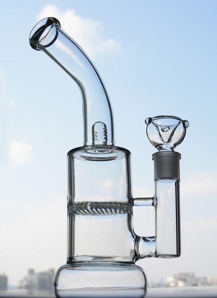 Imagen real Claro Grueso Sólido Base Doble Cámara De cristal Bong Fumar Cachimba Con Honeycomb Percolator 18mm Junta