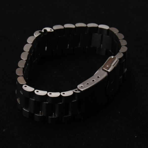 New 316L unpolished Stainless Steel Metal Watch Bands Strap bracelets safety Deployment Clasp Buckle matte watchbands 20mm 22mm
