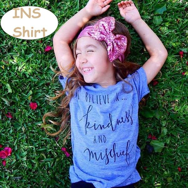 Kids Letter Print T-shirt bobo Baby Red Blue Short Sleeve Tops Toddler Summer Casual tops 70-100