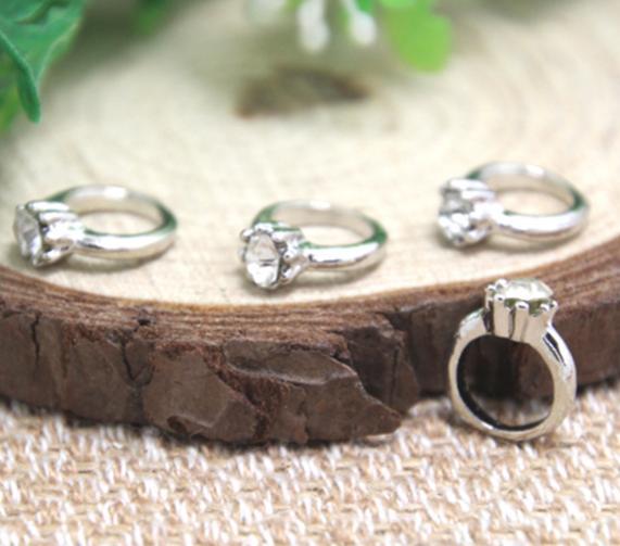 15 adet / grup halka Charms Antiqued Gümüş Ton alyans charm kolye 13x11mm