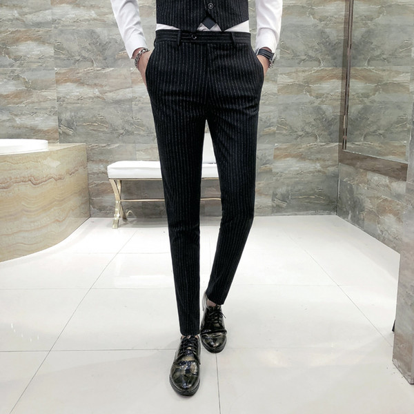 British Style Striped Men Pant Brand Slim Fit Casual Dress Suit Pants Night Club/Wedding/Party/Prom/Host Trousers Men Clothes 33