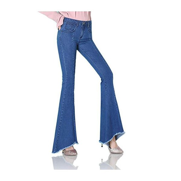 Casual Women Jeans 2018 New Autumn Winter Fashion Ladies Pants Zipper Fly Flare Full Length Slim Pants For Female Jeans