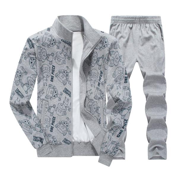Large size 8XL 2019 New Spring Autumn Men Sporting Suit Two Piece Set Sweatsuit Jacket+Pant Print Tracksuit For Men Set Clothing