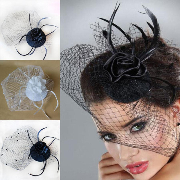 2018 Hot Cheap Bridal Veil Accessories White Black Feathers Hat Clip Accessories For Christmas Party Wedding Dresses Hair Wear