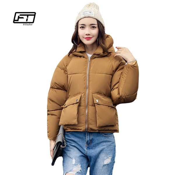 Fitaylor Winter Women Padded Coats Short Cute Cotton Down Parkas Camouflage Wadded Jacket Loose Casual Warm Overcoats S18101505
