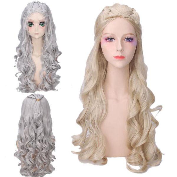 Game Of Thrones Daenerys Perücke 2 Farben 70 cm Targaryen Jon Schnee Cosplay Perücken Für Halloween Party Favor Haar Zubehör OOA5563