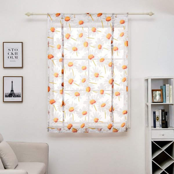 Hot Roman blinds kitchen curtains soft sunflower sheer panel tulle window treatment door curtains gauze voile curtain