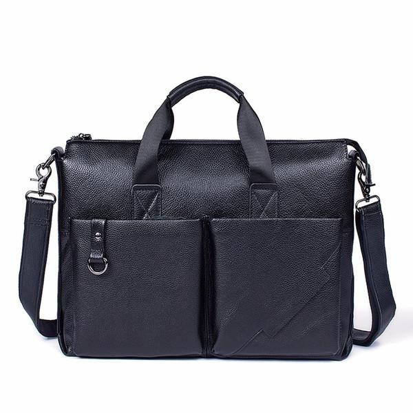 Fashion Men Briefcases Genuine Leather Handbag For Man Vintage Laptop Briefcase Messenger Shoulder Bags Men's Crossbody Bag
