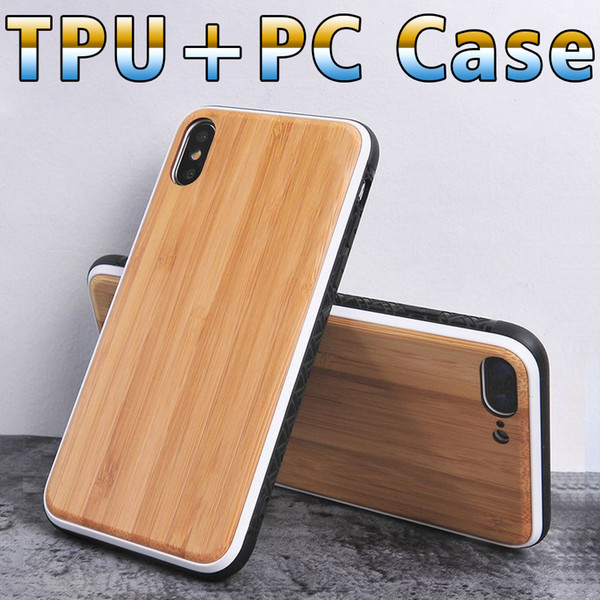 Phone case for iphone 7/8/x Natural bamboo wood environmental protection TPU PC 2in1 cell phone case cover