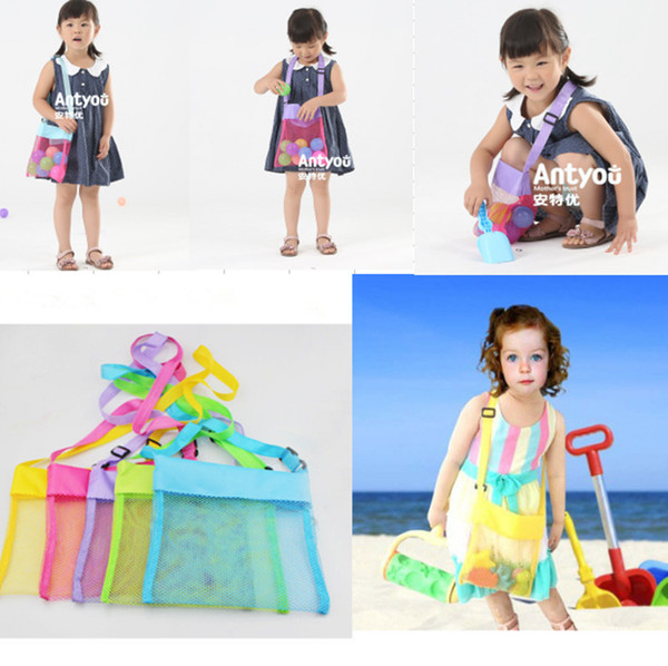 top popular Children Kids beach mesh bag Portable sand away Mesh Seashell shell Bags Toys Receive Storage Bags Sandboxes Away Cross Body shoulder bag 2019