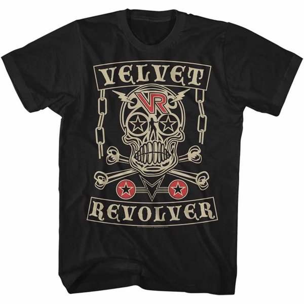Velvet Revolver Crâne Lightning Boulons Adulte T Shirt Hard Rock Musique Top Qualité Coton Casual Hommes T-shirts Hommes