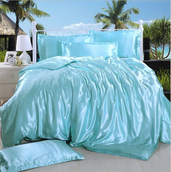 European Style 4pcs Suit Bedding Sets Pure Color Queen Size Luxury Duvet Covers Mulberry Silk Quilt Cover Multi Styles 59 9dn ff