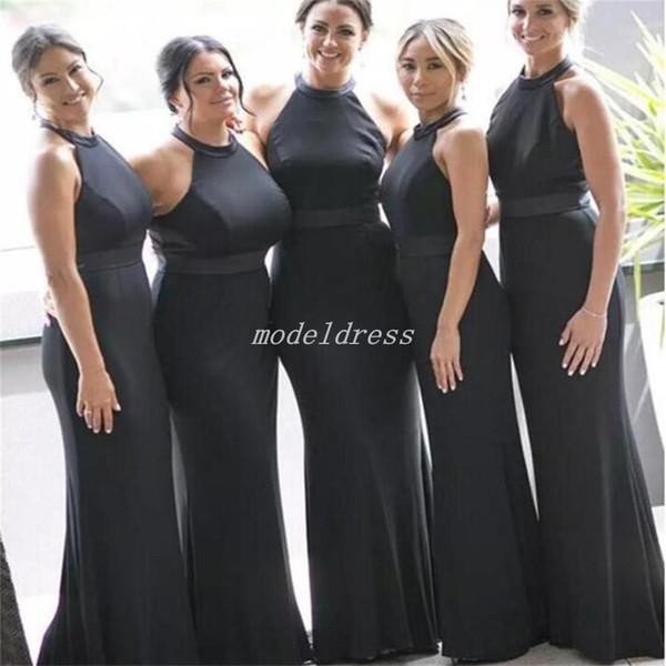 Compre 2018 Tallas Grandes Sirena Vestidos De Dama De Honor Halter Piso Longitud Jardín País Playa Boda Vestidos De Invitados Vestido De Dama De Honor